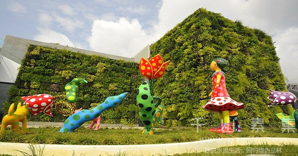 植物墙雕塑,建筑植物墙,植物墙景观