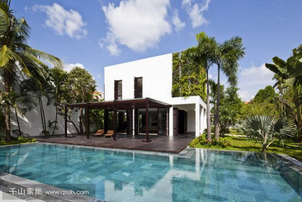 热带风情植物墙、在度假别墅中的应用